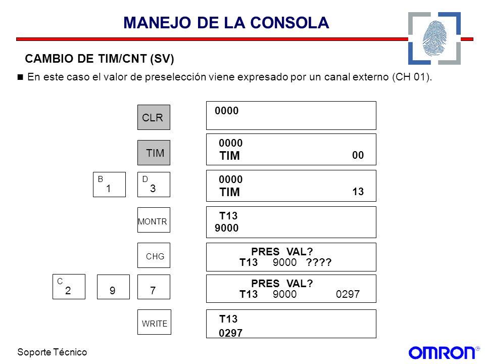 Soporte Técnico MANEJO DE LA CONSOLA CAMBIO DE TIM/CNT (SV) En este caso el valor de preselección viene expresado por un canal externo (CH 01). CLR 00