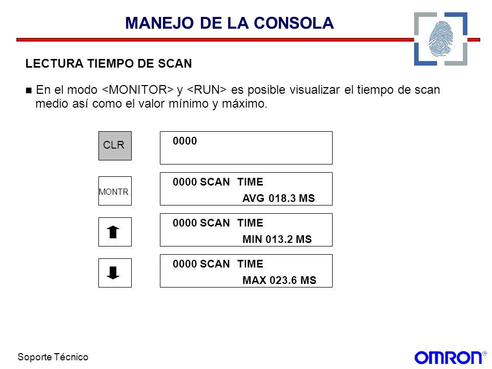 Soporte Técnico MANEJO DE LA CONSOLA LECTURA TIEMPO DE SCAN En el modo y es posible visualizar el tiempo de scan medio así como el valor mínimo y máxi