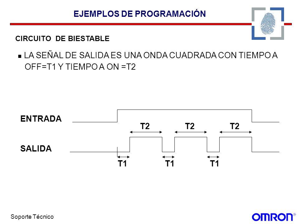 Soporte Técnico EJEMPLOS DE PROGRAMACIÓN CIRCUITO DE BIESTABLE LA SEÑAL DE SALIDA ES UNA ONDA CUADRADA CON TIEMPO A OFF=T1 Y TIEMPO A ON =T2 SALIDA EN
