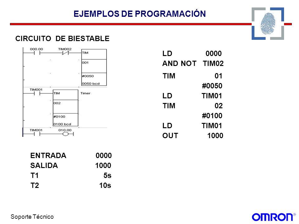 Soporte Técnico EJEMPLOS DE PROGRAMACIÓN CIRCUITO DE BIESTABLE LD 0000 AND NOT TIM02 TIM 01 #0050 LD TIM01 TIM 02 #0100 LD TIM01 OUT 1000 ENTRADA 0000