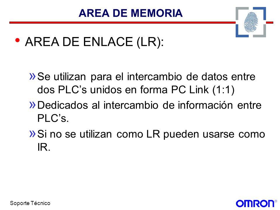 Soporte Técnico AREA DE MEMORIA AREA DE ENLACE (LR): » Se utilizan para el intercambio de datos entre dos PLCs unidos en forma PC Link (1:1) » Dedicad
