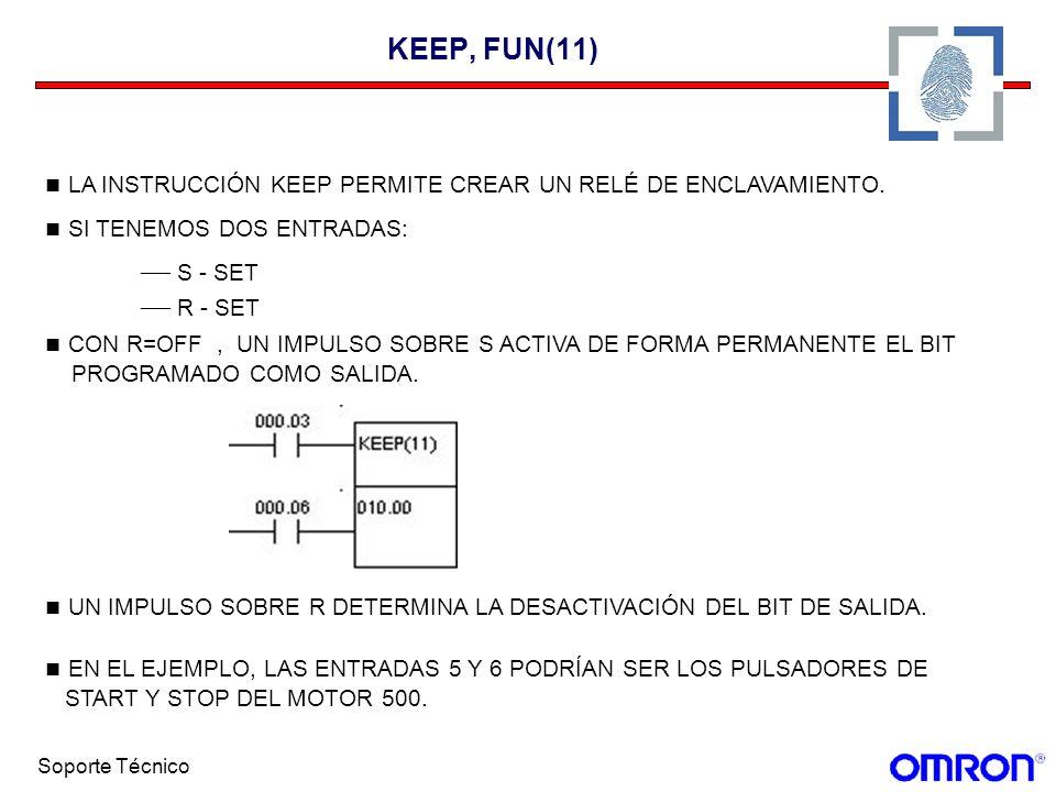 Soporte Técnico KEEP, FUN(11) LA INSTRUCCIÓN KEEP PERMITE CREAR UN RELÉ DE ENCLAVAMIENTO. SI TENEMOS DOS ENTRADAS: S - SET R - SET CON R=OFF, UN IMPUL