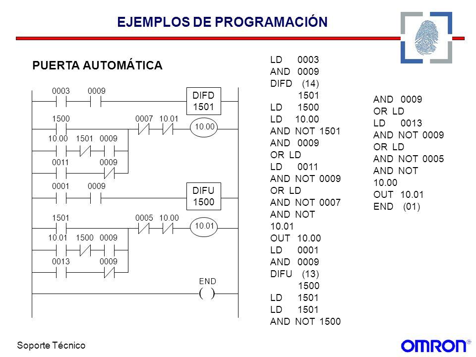 Soporte Técnico EJEMPLOS DE PROGRAMACIÓN PUERTA AUTOMÁTICA LD 0003 AND 0009 DIFD (14) 1501 LD 1500 LD 10.00 AND NOT 1501 AND 0009 OR LD LD 0011 AND NO
