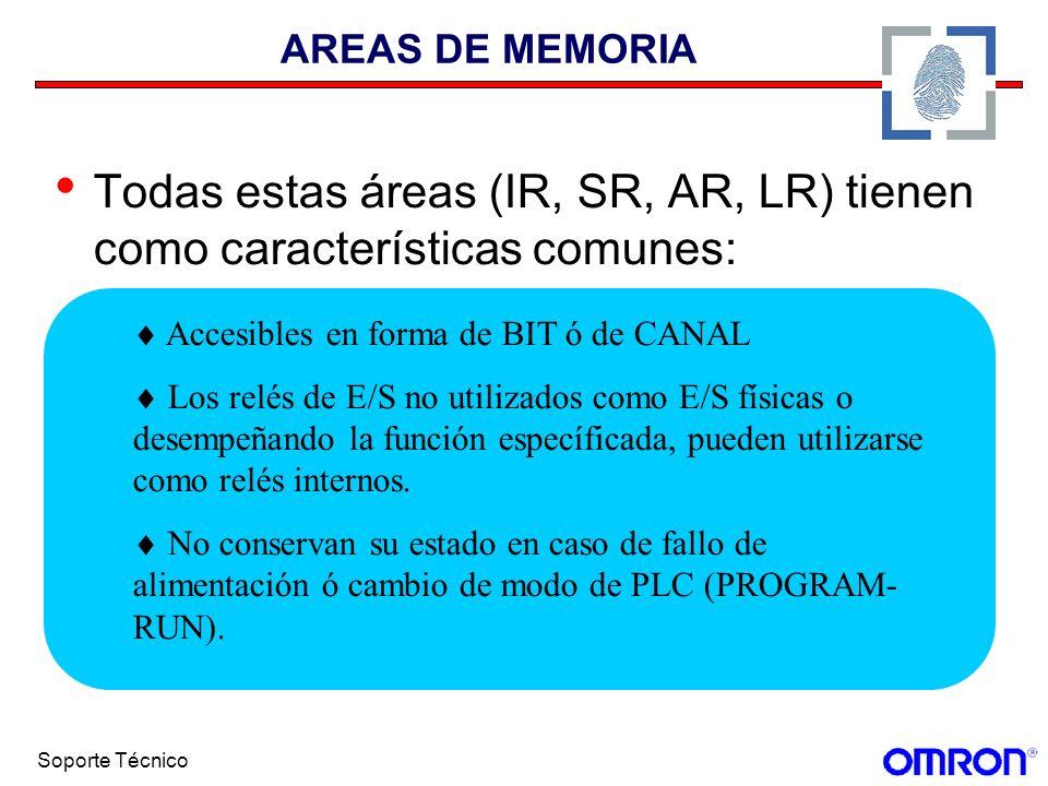 Soporte Técnico AREAS DE MEMORIA Todas estas áreas (IR, SR, AR, LR) tienen como características comunes: Accesibles en forma de BIT ó de CANAL Los rel