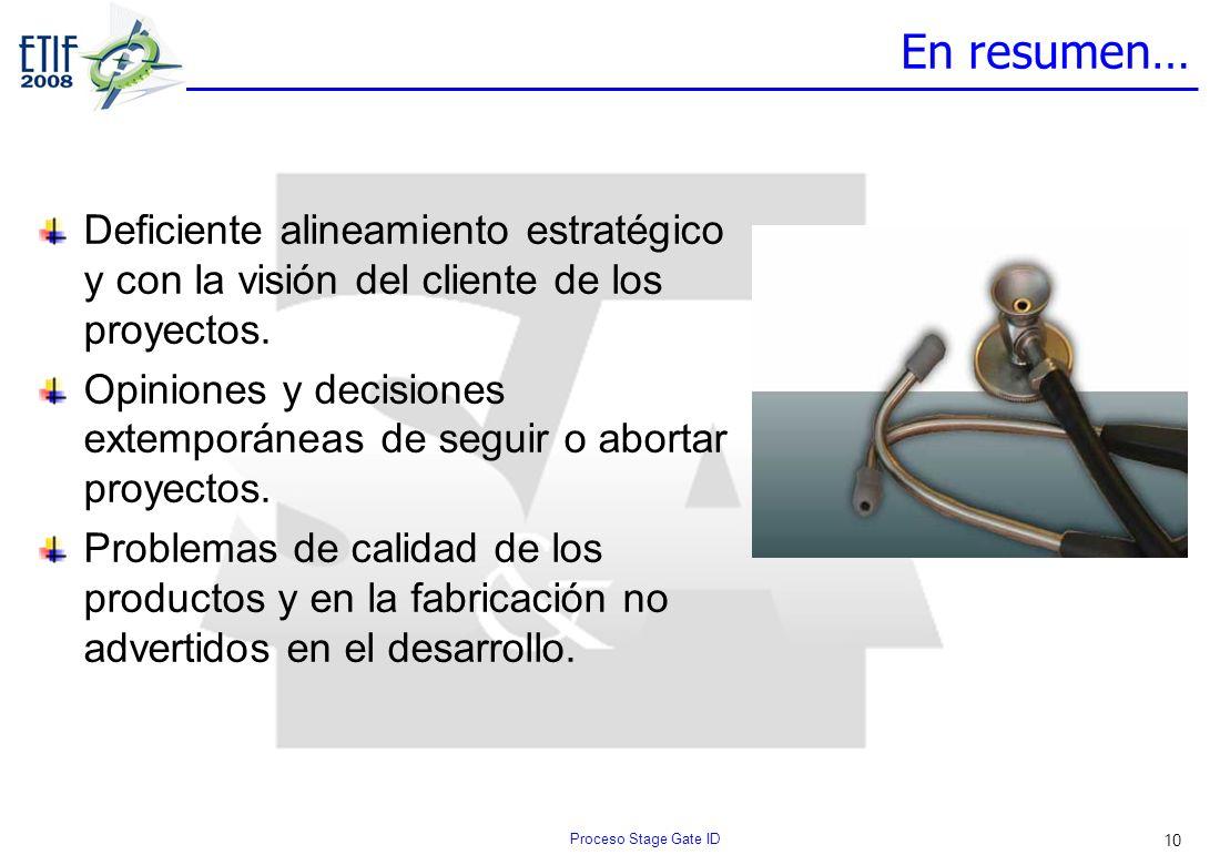 10 En resumen… Deficiente alineamiento estratégico y con la visión del cliente de los proyectos. Opiniones y decisiones extemporáneas de seguir o abor