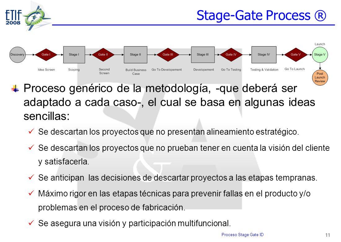 11 Stage-Gate Process ® Proceso genérico de la metodología, -que deberá ser adaptado a cada caso-, el cual se basa en algunas ideas sencillas: Se desc
