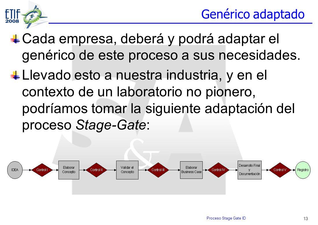 13 Genérico adaptado Cada empresa, deberá y podrá adaptar el genérico de este proceso a sus necesidades. Llevado esto a nuestra industria, y en el con