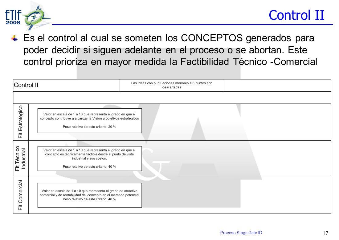 17 Control II Es el control al cual se someten los CONCEPTOS generados para poder decidir si siguen adelante en el proceso o se abortan. Este control
