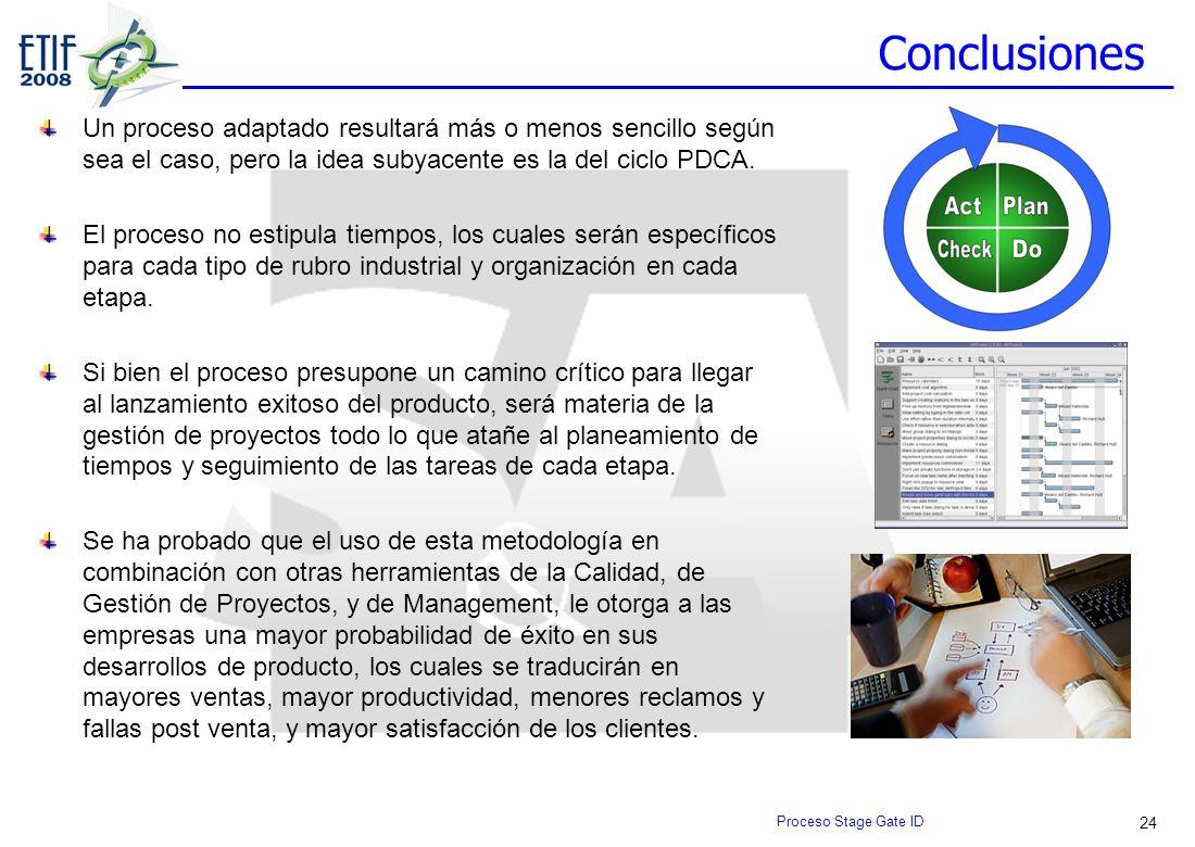 24 Conclusiones Un proceso adaptado resultará más o menos sencillo según sea el caso, pero la idea subyacente es la del ciclo PDCA. El proceso no esti