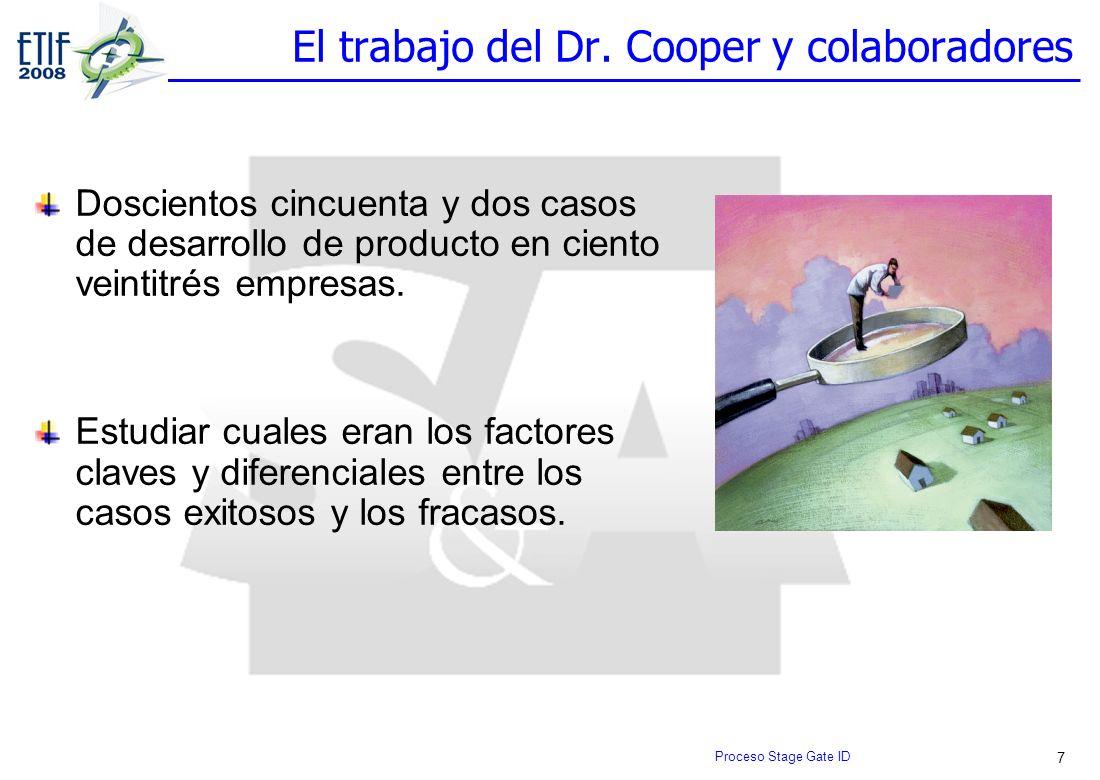 7 El trabajo del Dr. Cooper y colaboradores Doscientos cincuenta y dos casos de desarrollo de producto en ciento veintitrés empresas. Estudiar cuales