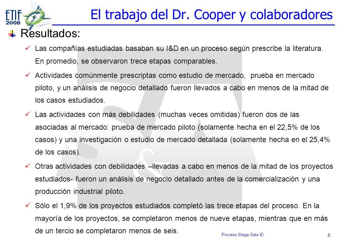 8 El trabajo del Dr. Cooper y colaboradores Resultados: Las compañías estudiadas basaban su I&D en un proceso según prescribe la literatura. En promed