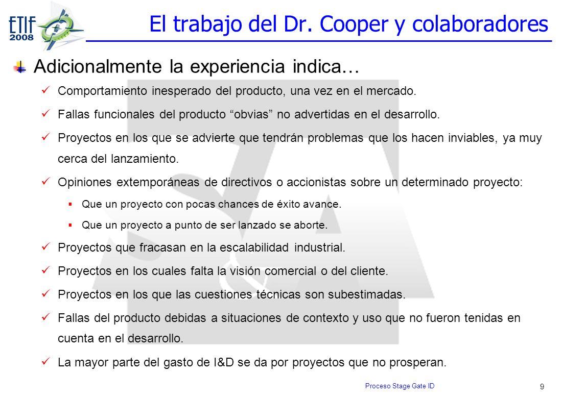 9 El trabajo del Dr. Cooper y colaboradores Adicionalmente la experiencia indica… Comportamiento inesperado del producto, una vez en el mercado. Falla