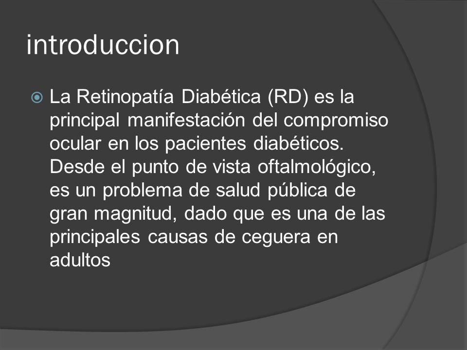 introduccion La Retinopatía Diabética (RD) es la principal manifestación del compromiso ocular en los pacientes diabéticos. Desde el punto de vista of
