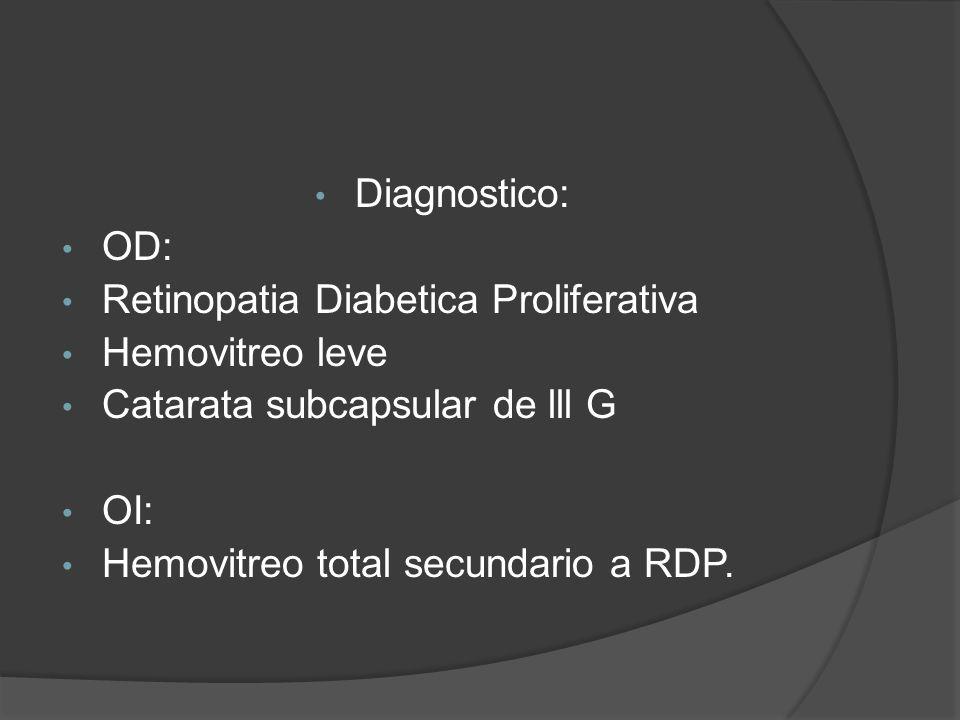 Diagnostico: OD: Retinopatia Diabetica Proliferativa Hemovitreo leve Catarata subcapsular de lll G OI: Hemovitreo total secundario a RDP.