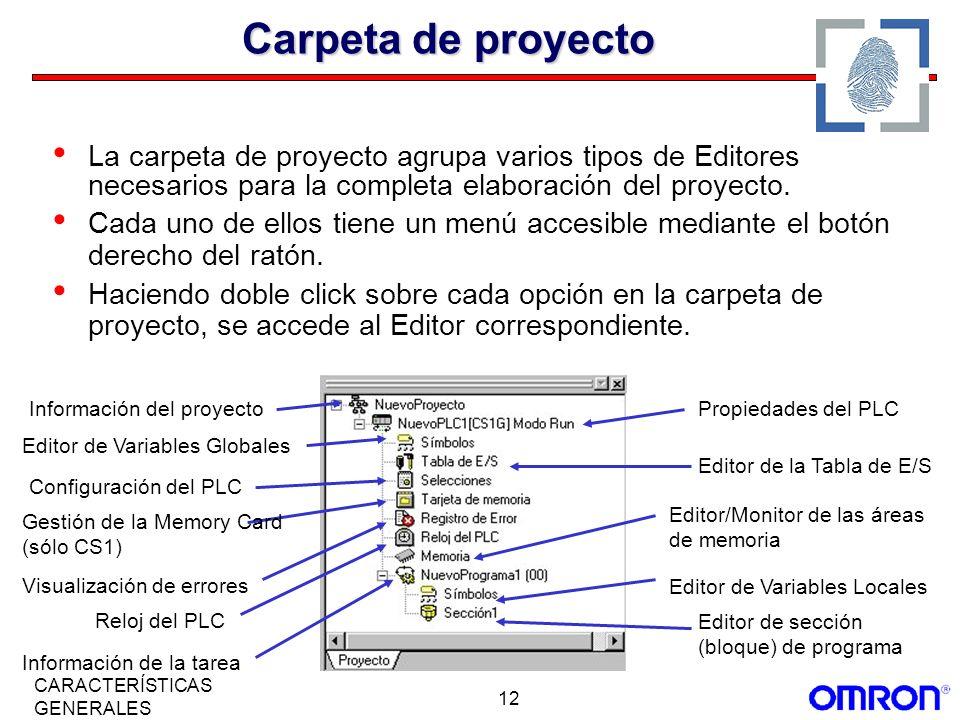 12 CARACTERÍSTICAS GENERALES Carpeta de proyecto La carpeta de proyecto agrupa varios tipos de Editores necesarios para la completa elaboración del pr
