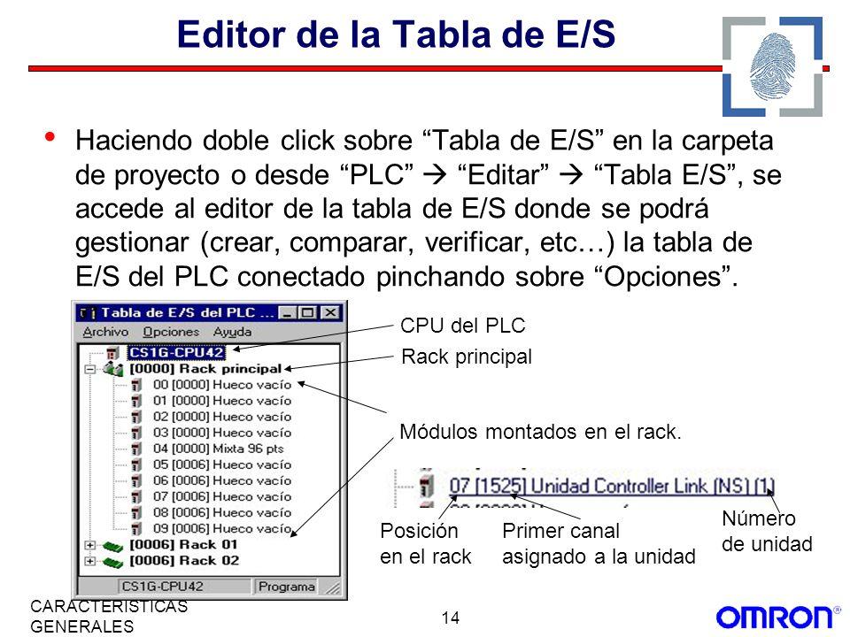 14 CARACTERÍSTICAS GENERALES Editor de la Tabla de E/S Haciendo doble click sobre Tabla de E/S en la carpeta de proyecto o desde PLC Editar Tabla E/S,