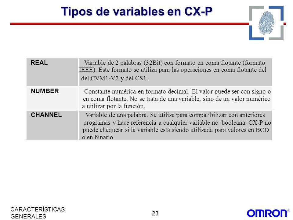 23 CARACTERÍSTICAS GENERALES Tipos de variables en CX-P REAL Variable de 2 palabras (32Bit) con formato en coma flotante (formato IEEE). Este formato