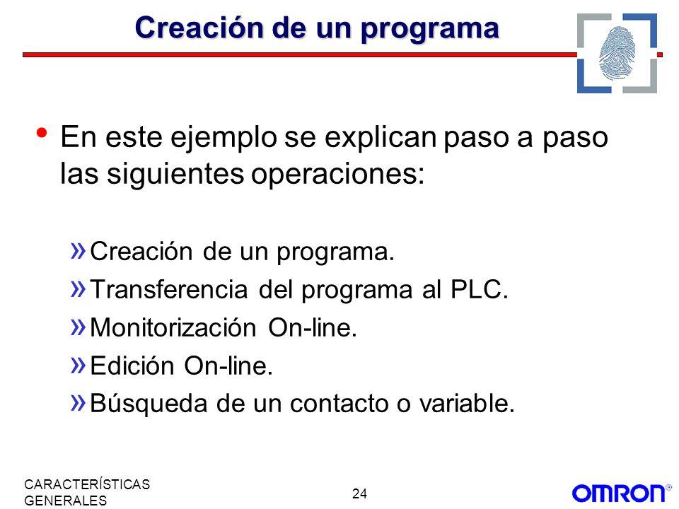 24 CARACTERÍSTICAS GENERALES Creación de un programa En este ejemplo se explican paso a paso las siguientes operaciones: » Creación de un programa. »