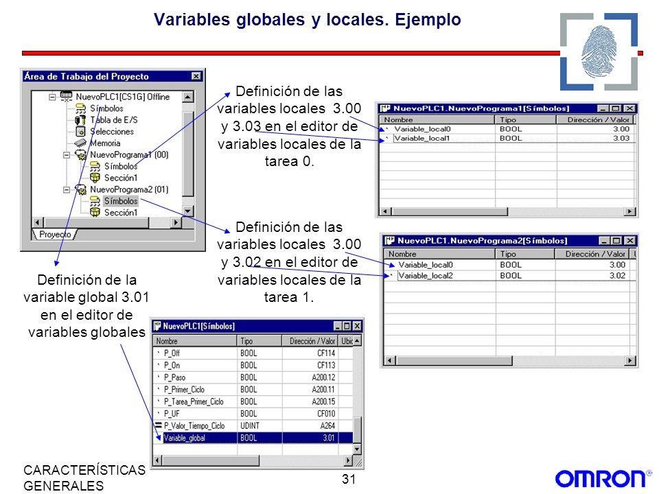 31 CARACTERÍSTICAS GENERALES Variables globales y locales. Ejemplo Definición de la variable global 3.01 en el editor de variables globales Definición