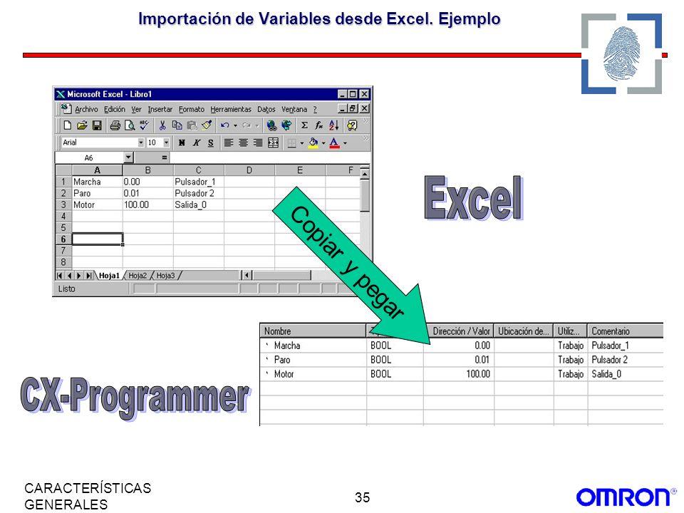 35 CARACTERÍSTICAS GENERALES Importación de Variables desde Excel. Ejemplo Copiar y pegar