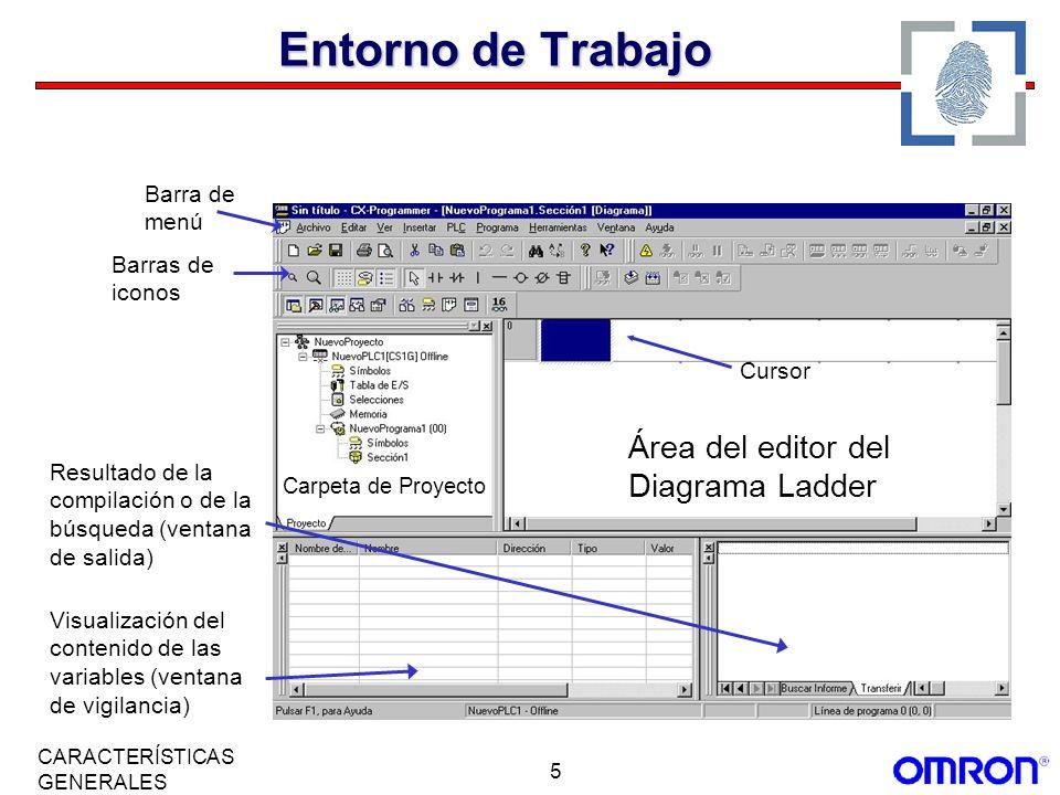 5 CARACTERÍSTICAS GENERALES Barra de menú Barras de iconos Carpeta de Proyecto Área del editor del Diagrama Ladder Cursor Resultado de la compilación