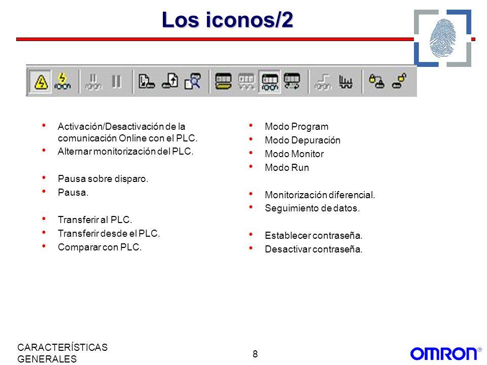 8 CARACTERÍSTICAS GENERALES Los iconos/2 Activación/Desactivación de la comunicación Online con el PLC. Alternar monitorización del PLC. Pausa sobre d