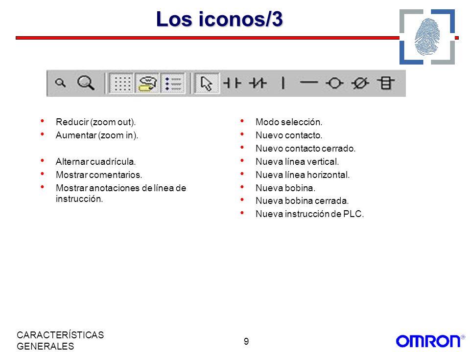9 CARACTERÍSTICAS GENERALES Los iconos/3 Reducir (zoom out). Aumentar (zoom in). Alternar cuadrícula. Mostrar comentarios. Mostrar anotaciones de líne