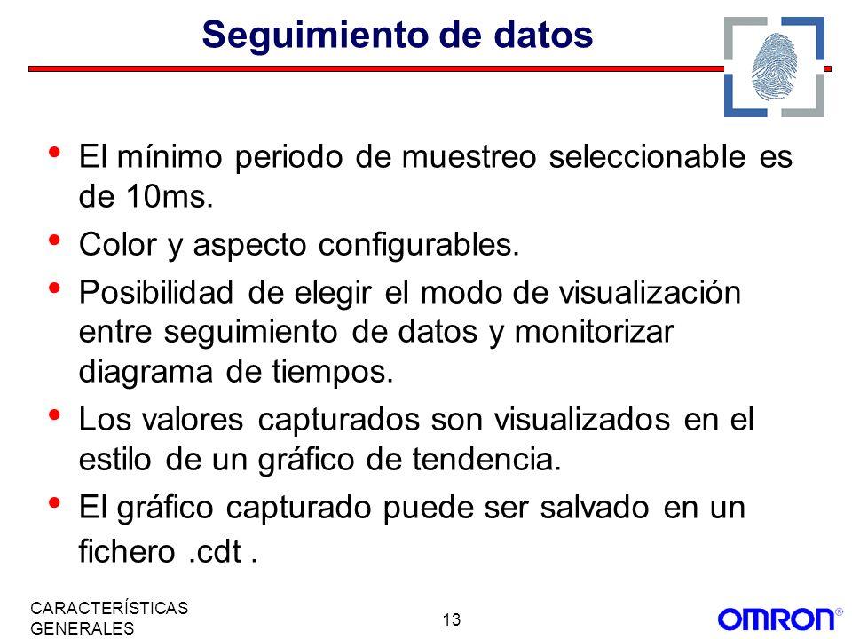 13 CARACTERÍSTICAS GENERALES Seguimiento de datos El mínimo periodo de muestreo seleccionable es de 10ms. Color y aspecto configurables. Posibilidad d