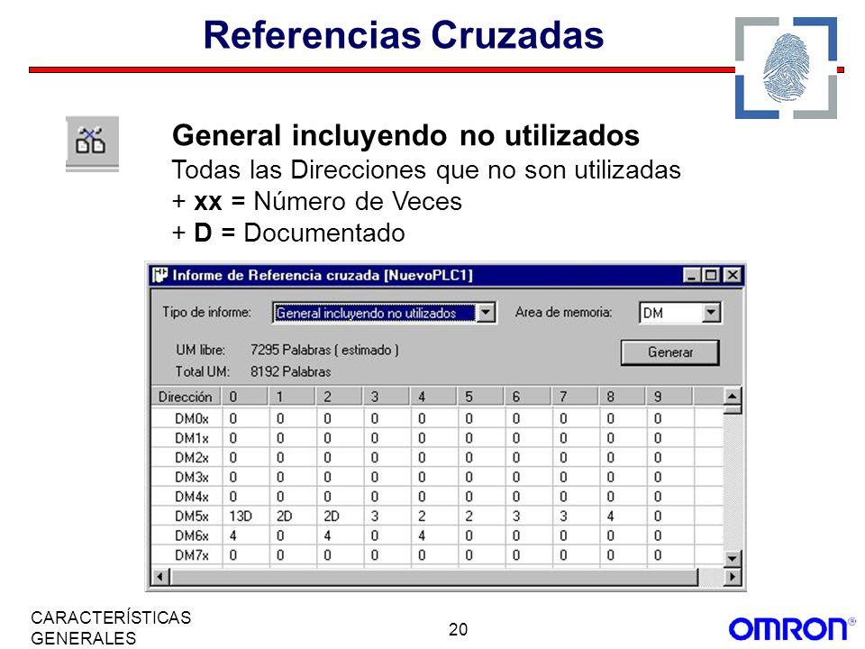 20 CARACTERÍSTICAS GENERALES Referencias Cruzadas General incluyendo no utilizados Todas las Direcciones que no son utilizadas + xx = Número de Veces