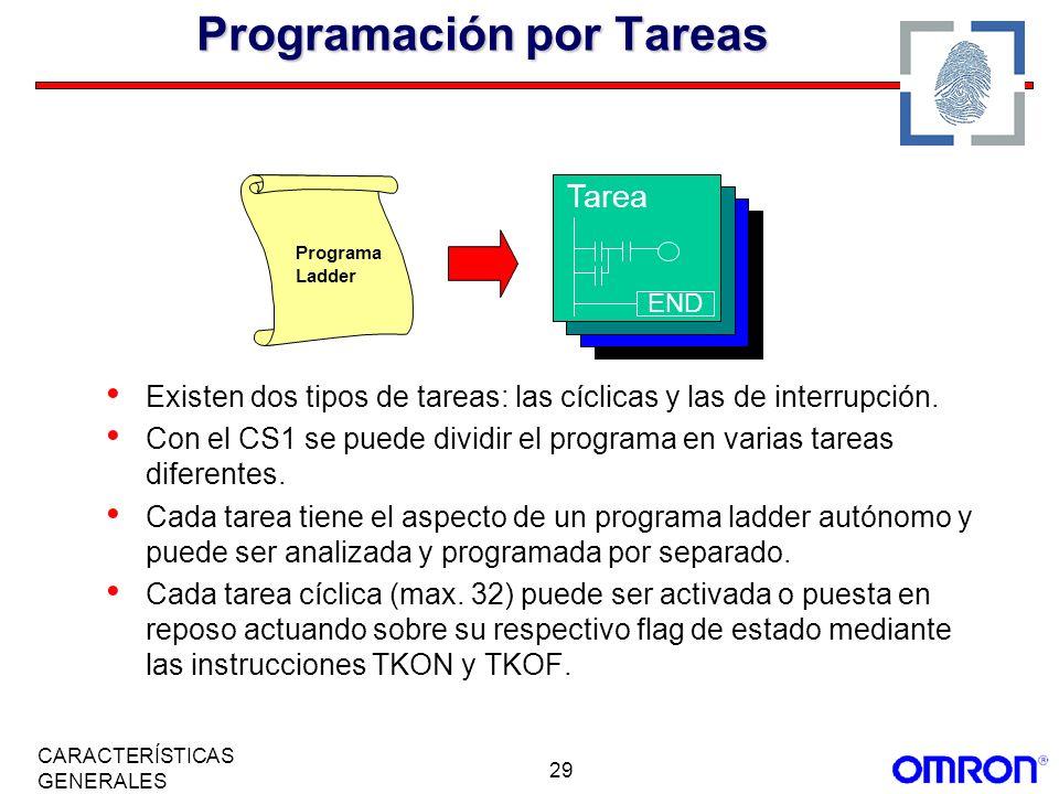 29 CARACTERÍSTICAS GENERALES Programación por Tareas Existen dos tipos de tareas: las cíclicas y las de interrupción. Con el CS1 se puede dividir el p