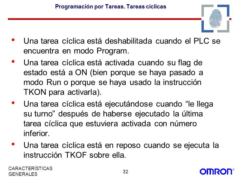 32 CARACTERÍSTICAS GENERALES Programación por Tareas. Tareas cíclicas Una tarea cíclica está deshabilitada cuando el PLC se encuentra en modo Program.