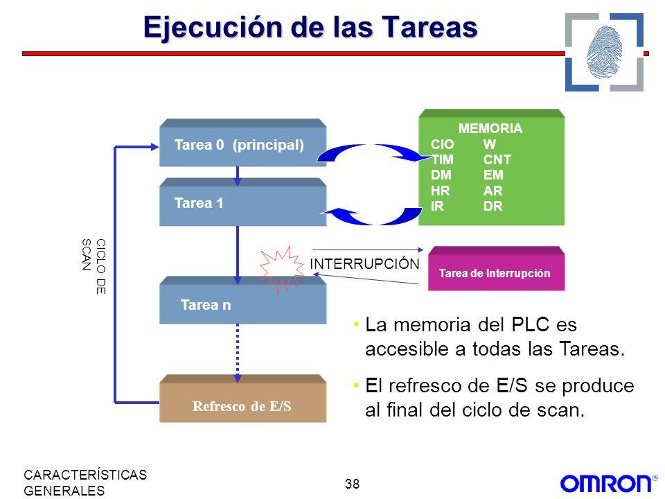 38 CARACTERÍSTICAS GENERALES Ejecución de las Tareas MEMORIA CIOW TIMCNT DMEM HRAR IRDR Tarea de Interrupción CICLO DESCAN Tarea 0 (principal) Tarea 1