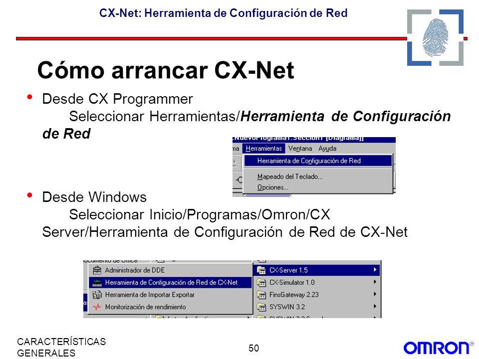 50 CARACTERÍSTICAS GENERALES CX-Net: Herramienta de Configuración de Red Desde CX Programmer Seleccionar Herramientas/Herramienta de Configuración de