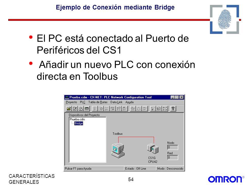 54 CARACTERÍSTICAS GENERALES Ejemplo de Conexión mediante Bridge El PC está conectado al Puerto de Periféricos del CS1 Añadir un nuevo PLC con conexió
