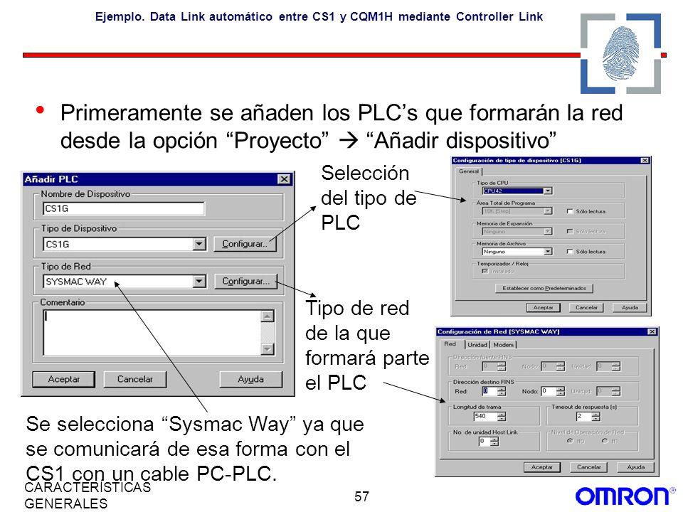 57 CARACTERÍSTICAS GENERALES Ejemplo. Data Link automático entre CS1 y CQM1H mediante Controller Link Primeramente se añaden los PLCs que formarán la