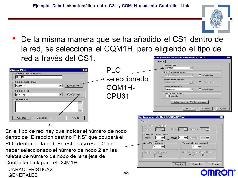 58 CARACTERÍSTICAS GENERALES Ejemplo. Data Link automático entre CS1 y CQM1H mediante Controller Link De la misma manera que se ha añadido el CS1 dent