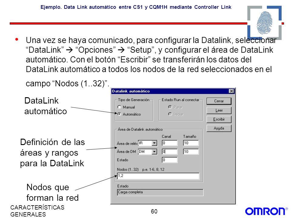 60 CARACTERÍSTICAS GENERALES Ejemplo. Data Link automático entre CS1 y CQM1H mediante Controller Link Una vez se haya comunicado, para configurar la D