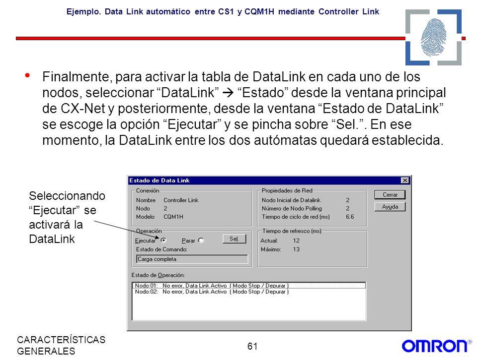 61 CARACTERÍSTICAS GENERALES Ejemplo. Data Link automático entre CS1 y CQM1H mediante Controller Link Finalmente, para activar la tabla de DataLink en