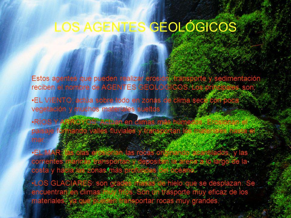 LOS PROCESOS EXTERNOS MODIFICAN EL RELIEVE Los procesos externos producen diferentes acciones: 1.Cundo el agua discurre en forma de arroyos y ríos, o