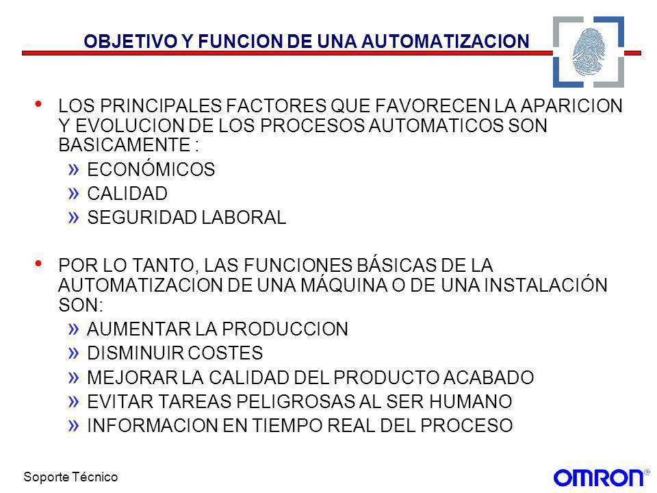 Soporte Técnico OBJETIVO Y FUNCION DE UNA AUTOMATIZACION LOS PRINCIPALES FACTORES QUE FAVORECEN LA APARICION Y EVOLUCION DE LOS PROCESOS AUTOMATICOS S