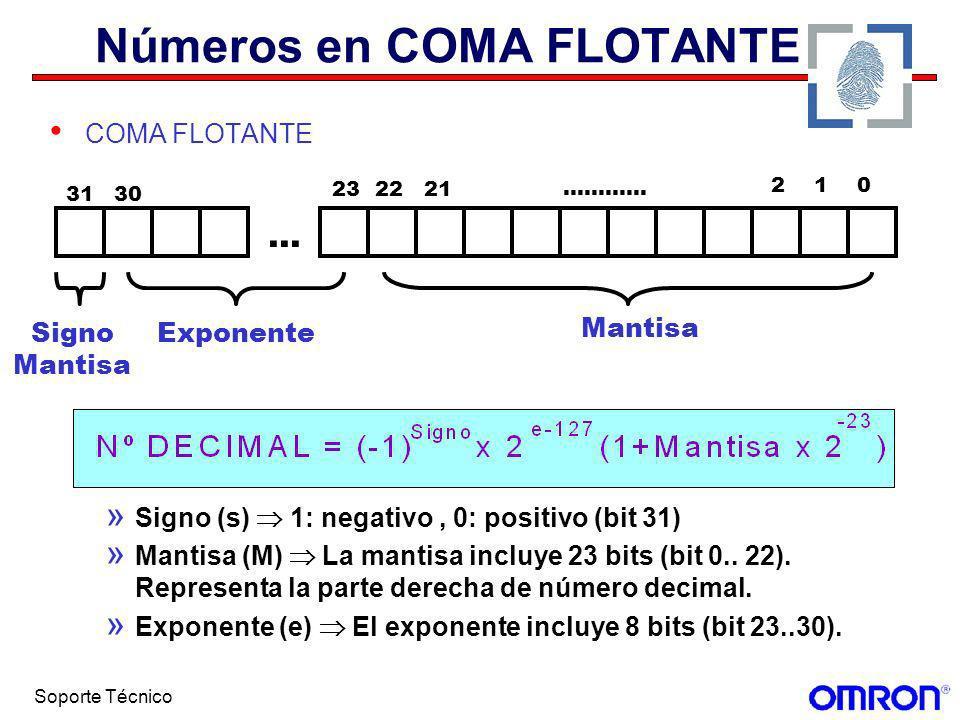Soporte Técnico Números en COMA FLOTANTE COMA FLOTANTE » Signo (s) 1: negativo, 0: positivo (bit 31) » Mantisa (M) La mantisa incluye 23 bits (bit 0..