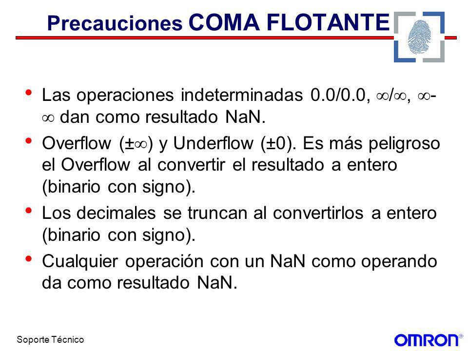 Soporte Técnico Precauciones COMA FLOTANTE Las operaciones indeterminadas 0.0/0.0, /, - dan como resultado NaN. Overflow (± ) y Underflow (±0). Es más