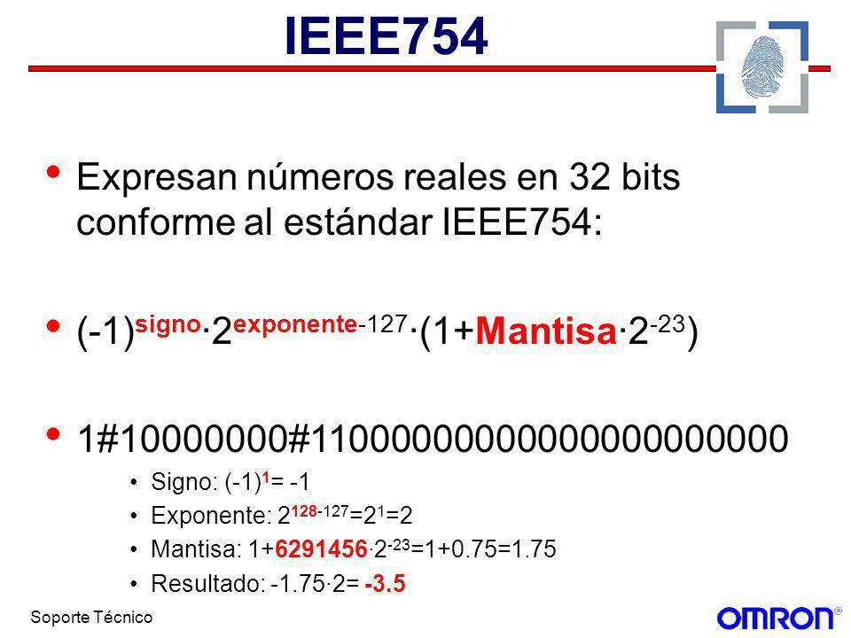 Soporte Técnico IEEE754 Expresan números reales en 32 bits conforme al estándar IEEE754: (-1) signo ·2 exponente-127 ·(1+Mantisa·2 -23 ) 1#10000000#11