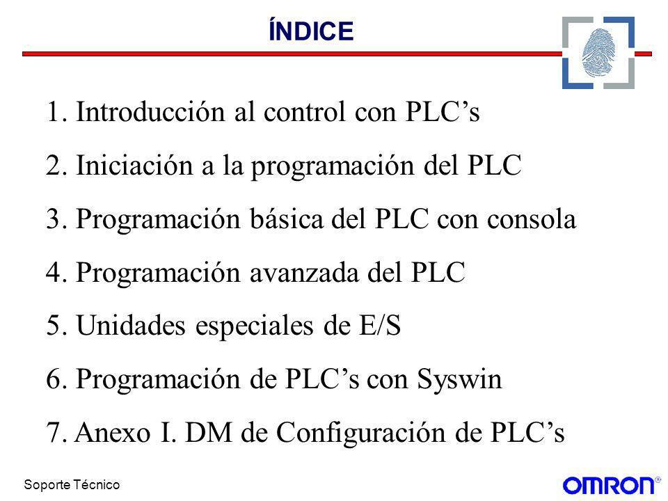 Soporte Técnico ÍNDICE 1. Introducción al control con PLCs 2. Iniciación a la programación del PLC 3. Programación básica del PLC con consola 4. Progr