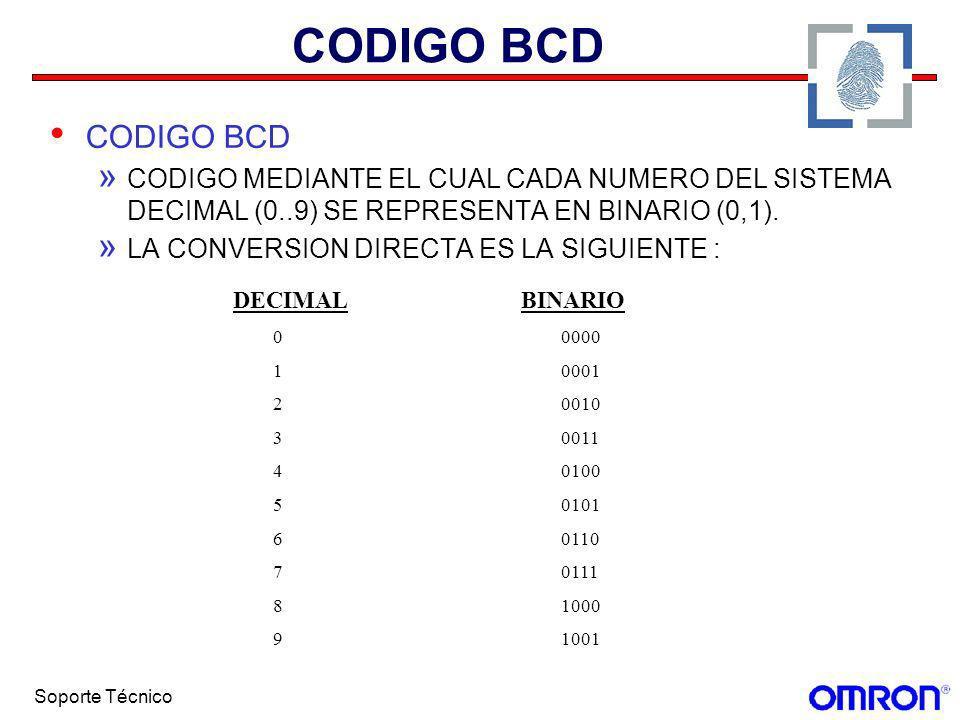 Soporte Técnico CODIGO BCD » CODIGO MEDIANTE EL CUAL CADA NUMERO DEL SISTEMA DECIMAL (0..9) SE REPRESENTA EN BINARIO (0,1). » LA CONVERSION DIRECTA ES