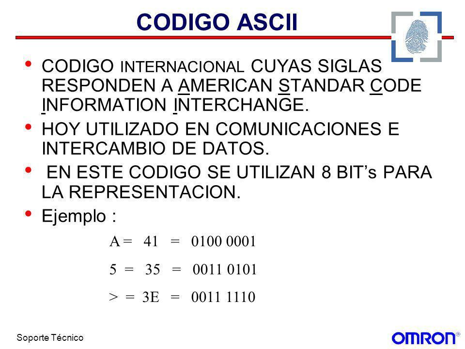 Soporte Técnico CODIGO ASCII CODIGO INTERNACIONAL CUYAS SIGLAS RESPONDEN A AMERICAN STANDAR CODE INFORMATION INTERCHANGE. HOY UTILIZADO EN COMUNICACIO