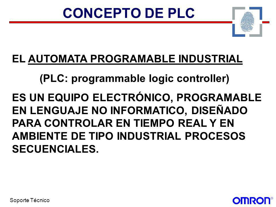 Soporte Técnico CONCEPTO DE PLC EL AUTOMATA PROGRAMABLE INDUSTRIAL (PLC: programmable logic controller) ES UN EQUIPO ELECTRÓNICO, PROGRAMABLE EN LENGU