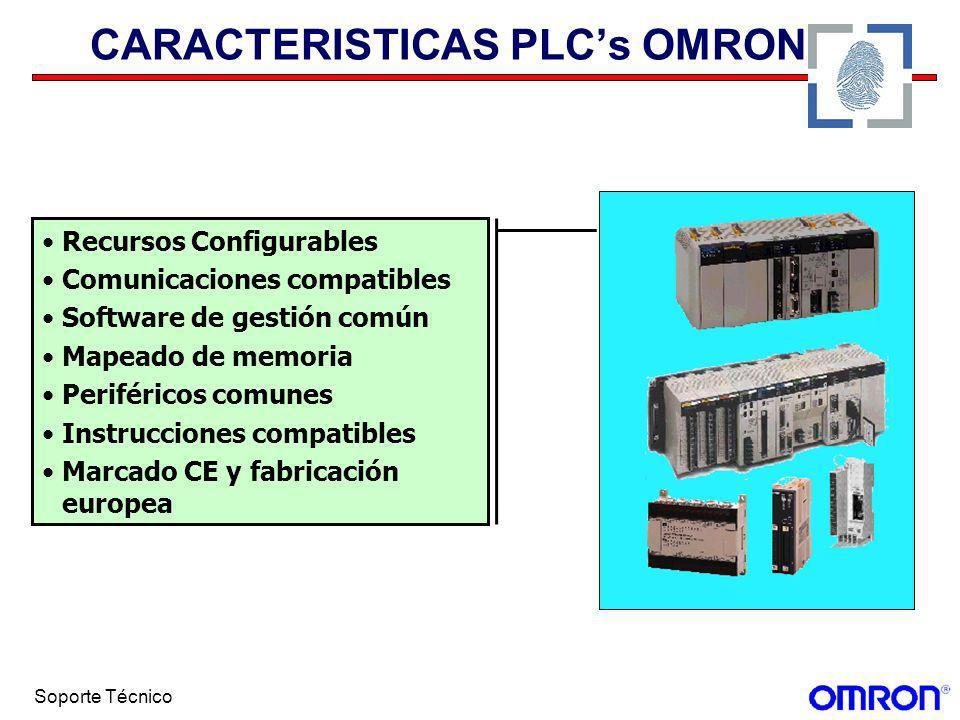 Soporte Técnico CARACTERISTICAS PLCs OMRON Recursos Configurables Comunicaciones compatibles Software de gestión común Mapeado de memoria Periféricos