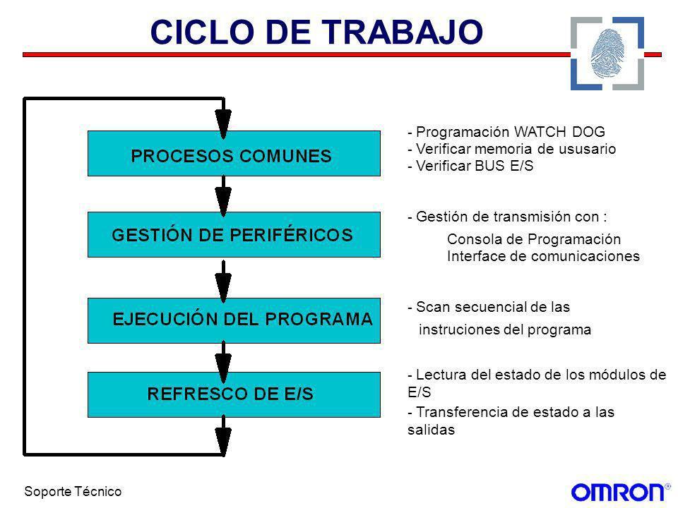 Soporte Técnico CICLO DE TRABAJO - Programación WATCH DOG - Verificar memoria de ususario - Verificar BUS E/S - Gestión de transmisión con : Consola d