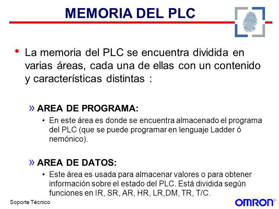 Soporte Técnico MEMORIA DEL PLC La memoria del PLC se encuentra dividida en varias áreas, cada una de ellas con un contenido y características distint